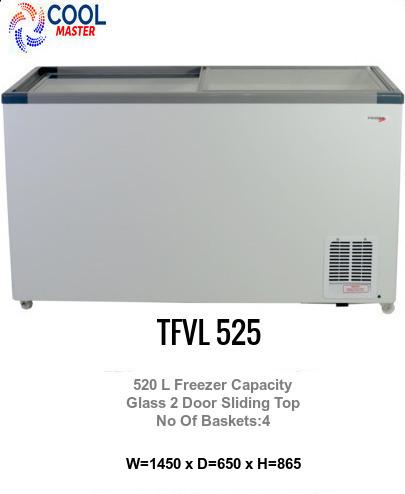Glass Top Freezer 520 Litre Sliding Doors