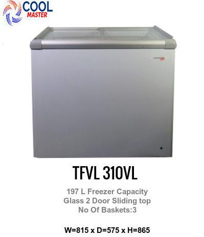 Glass Top Ice Cream Freezer 197 L Flat Glass Doors